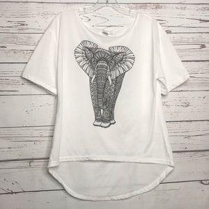 LA Soul Short Sleeve Hi Low Hem Elephant Top